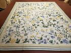 Needlepoint Carpet 8x10 Aubsson Rug New French Victorian Ivory Flowers 100% Wool
