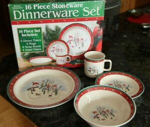 Royal Seasons Stoneware Snowman 16-Piece Dinnerware Dishes Set Christmas Holiday