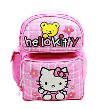 "Sanrio Hello Kitty Fullbody With Bear 14"" Canvas Pink Grils School Backpack"