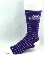 TCU Horned Frogs For Bare Feet Purple Crew Socks with White and Gray Lines