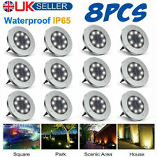 More details for led solar power ground lights floor decking patio outdoor garden lawn path lamps