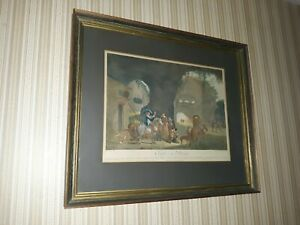 Antique framed FALCONRY by Jean Daulle 1761 after Jean Miel 1600's