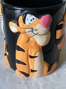 ADORABLE Vintage Disney Winnie The Pooh Black 3D TIGGER Coffee Mug!