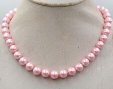 "10mm Beautiful Pink South Sea Shell Pearl Necklace 18"" crystal Clasp"