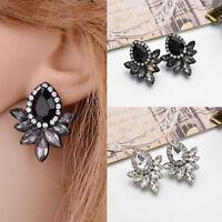 Elegant Women Girls Rhinestone Crystal Water Drop Flower Ear Stud Earrings Gifts