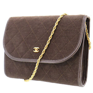CHANEL CC Quilted Chain Shoulder Bag Brown Cotton France Vintage Auth #AD146 O