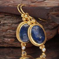 Sterling Silver Lapis Hook Earrings 24k Gold Vermeil Turkish Jewelry By Omer