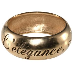 CHANEL Gold Tone L'elegance, c'est la ligne Etched Thick Bangle Bracelet