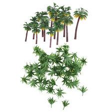 62Pcs HO OO N 1/75-1/500 Palm Tree & Grass Tree Model for Dioramas Landscape