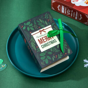 Christmas Book Designs Party Candy Chocolate  Biscuit Carrier Gift Boxes Cases