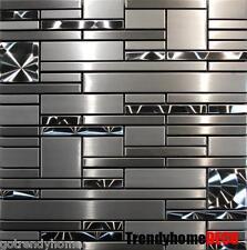 1 SF- Stainless Steel Metal pattern Mosaic Tile Kitchen Backsplash Wall Sink Spa