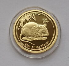2008 Australia Lunar II Year of the Mouse Rat $15 1/10 Oz Gold Proof Coin RARE