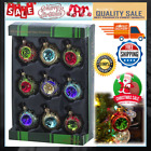 Vintage Christmas Glass Tree Ornaments Set Of 9 For Retro Xmas Decoration 45mm