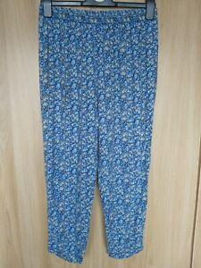 H&M Womens Blue Mix Floral Crop Harem Pants Trousers Size 14