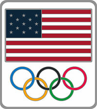 2020 Summer Olympics Tokyo Japan United States Flag & Olympic Rings Lapel Pin