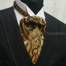 Cravat ascot wedding old west world tie black green wine made in USA
