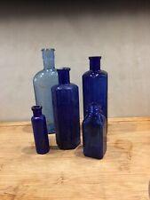 More details for 5 superb blue glass chemist medicine vintage old bottles poison cure