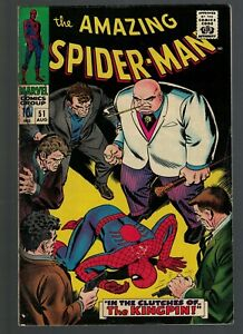 Marvel Comics Spiderman Amazing 51 2nd appearance Kingpin 1st Cover VG+ 4.5 1967