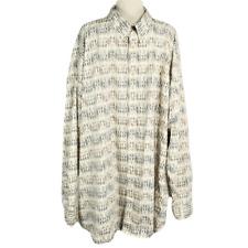 Palmland Mens 5XLT Tall Shirt Regular Cotton Stripe Button Front LS Ivory Multi