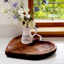 Heart Shaped Mango Wood Fruit Bowl Wooden Decorative Plate Tray Home Decoration