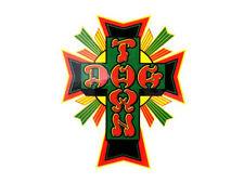 Dogtown CROSS Rasta Adesivo SKATE VERDE GIALLO Dogtown RARA VENEZIA ANNI'80 stile