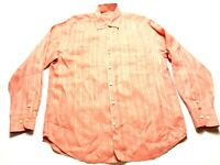 Tommy Bahama Mens Orange Long Sleeve Button Front Linen Shirt Size Medium
