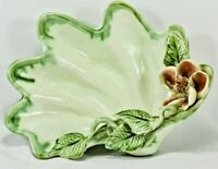 Bowl Footed Porcelain China - Green Sea Shell Floral - Antique Capodimonte Style