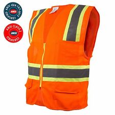 ANSI Class Two Tone High Visibility Construction Safety Vest, Reflective Vest