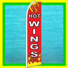 HOT WINGS SUPER BANNER FLAG Food Advertising Sign Bow Feather Swooper Flutter