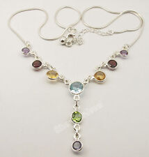 """925 Sterling Silver FACETED ROUND MULTISTONES Colorful Necklace 17 3/4"""""""