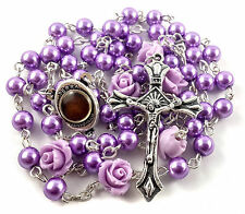 Catholic Purple Pearl Beads Rosary Necklace 6pcs Blessed Holy Soil Medal & Cross