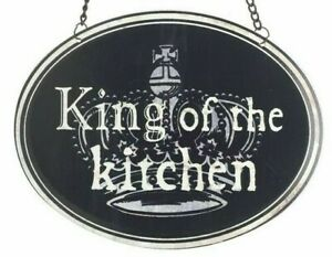 """WALL SIGN """"KING OF THE KITCHEN"""" VINTAGE STYLE METAL OVAL ON CHAIN UK SELLER"""