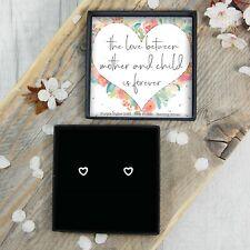 Silver Heart Earrings Studs Birthday Gift Present Mother Mum Parent Jewellery