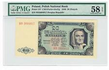 1948 Poland 20 Zlotych Certified banknote PMG 58 Choice About UNC EPQ, prefix HD