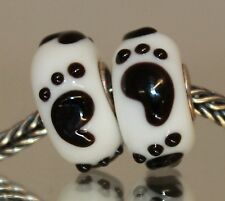 925 Sterling Silber Bead Murano Glas Lampwork Schwarzfuß Footstep Beads Charms