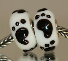 925 Sterling plata bead Murano vidrio Lampwork acertijo footstep beads Charms