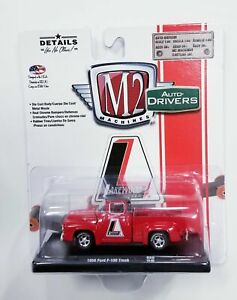M2 Machines 1956 Ford F-100 Truck Lakewood Auto Drivers R60 Red Die Cast Car 1:6