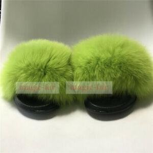 Neon Green Real Fox Fur Slides Beach Slippers Sandals Summer Shoes