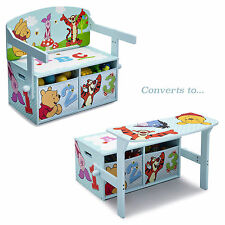 DELTA CHILDREN DISNEY WINNIE THE POOH CONVERTIBLE BENCH / DESK / TOY STORAGE BOX