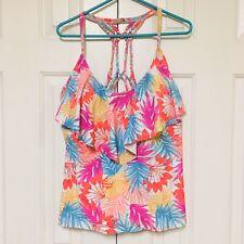 Catalina Tankini Swimsuit Top Ruffle Neon Pink Aqua Palm Floral Braided 1X Plus