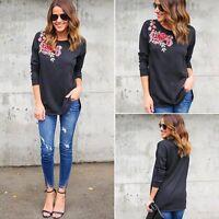 New Fashion Women Lady Loose Long Sleeve Tops Blouse Shirt Casual Cotton T-Shirt