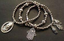Bijoux dull silver buddha and hamsa hand trio of stretch bracelets boho