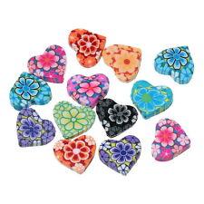 50 Mixte Perles Coeur Pâte Polymère Fleur Bijoux Loisir Créatif 15x13mm