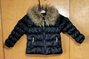 Juicy Couture 2T black puffer winter jacket coat toddler 24 mos faux fur collar