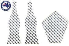 Mens Grey White Gingham Self Tied Bowtie Pocket Square Set Wedding Bow Tie Hanky