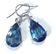 blue mystic quartz pear drop earrings, solid Sterling Silver, actual ones, UK.