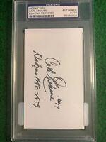 Carl Erskine PSA Autographed Signed 3x5 Index Card PSA/DNA 83056139 Inscribed!