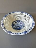 Japanese Arita Imari Hand Made Twisted Style Porcelain Footed Bowl