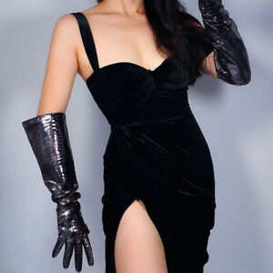 REAL LEATHER LONG GLOVES Unisex Wide Sleeves Silver Shine Black Lizard Snakeskin