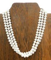 Vintage Japan Multi Strand Small White Glass Bead Silver Tone Choker 14 Necklace